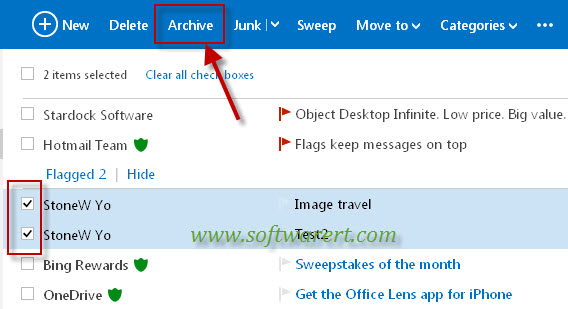 archive emails in hotmail account