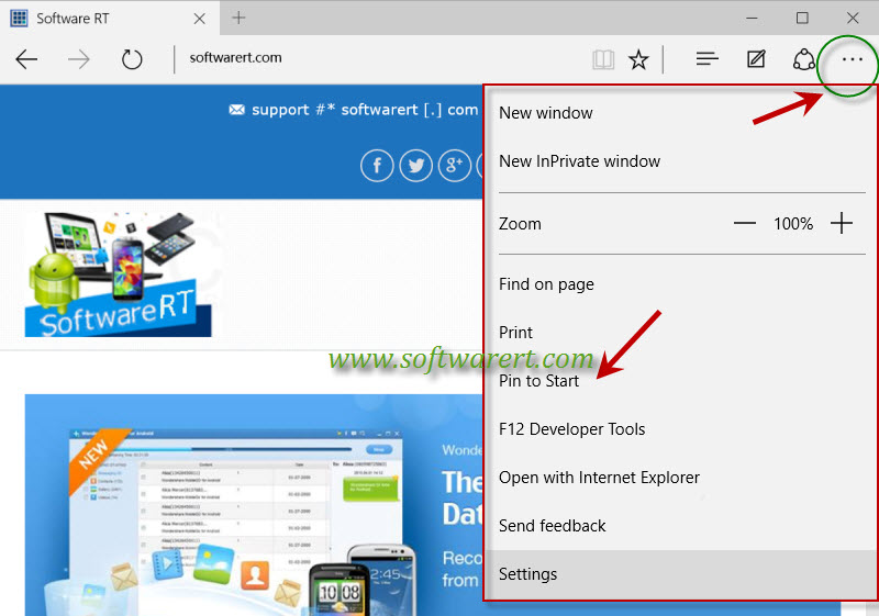 Pin a website to start menu in windows 10 for Windows 10 site