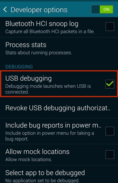 Enable USB Debugging on Galaxy S6, S5, S4