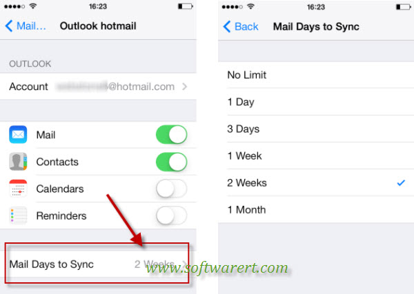limit mail days to sync from hotmail to iphone