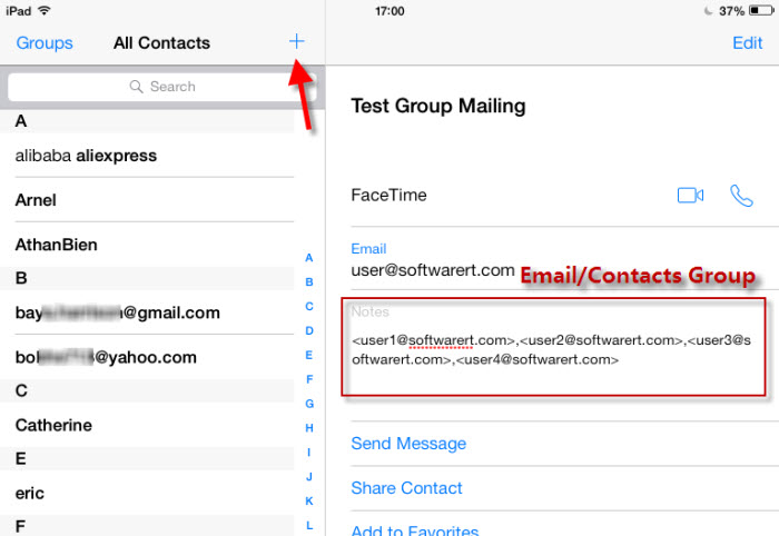 how to add an email contact on my ipad
