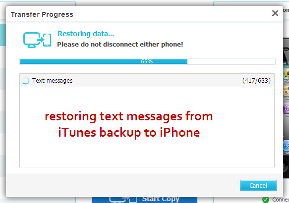 how to transfer text messages from iphone to iphone restoring text messages from itunes backup to iphone using 2284